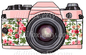 illustration of a camera with flowers