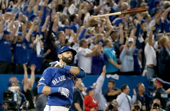 bautista bat flip blue jays win 2015